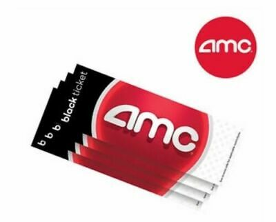 AMC  Black Movie Tickets (Paper Tickets, 4 Pack, No Expiration)