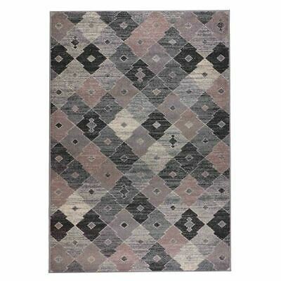 Modern Thick Rug with Rhombus Pattern-Cream With Beige Lines160x230cm-RUG196//230