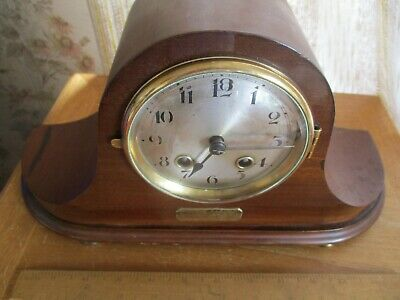 vintage 1920S MAHOGANY NAPOLIAN HAT cased  chiming mantle  clock/