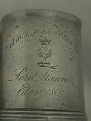 Antique Pewter Tankard, Eton Sporting Trophy, Lord Manners 1867
