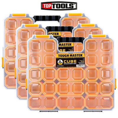 Tough Master Pro Tool Organiser 9 Storage Compartments Plastic Carry Case 3 Pack