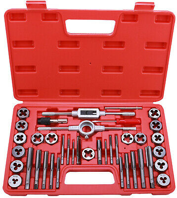 40-Piece Tap And Die Set SAE Inch Sizes Essential Threading Tool W/Storage Case