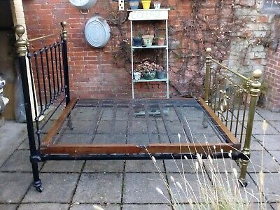 Antique Victorian Brass and iron Standard Double Bed with Sprung Base on casters
