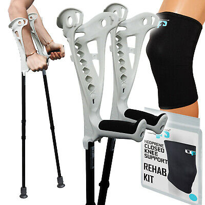 FDI Knee Rehab Kit, Premium White Crutches Pair + 1 Neoprene Knee Support Sleeve