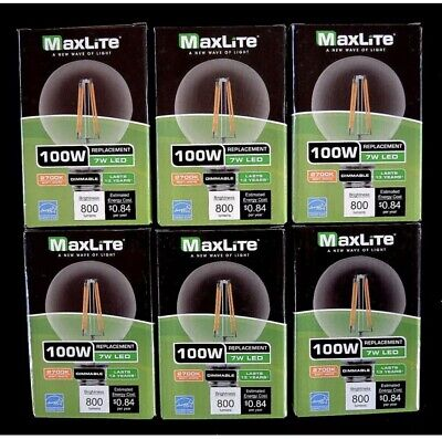 6 Pack 100w replacement LED Filament G25 Vanity Bulbs 7w 2700k 800 Lum Dimmable