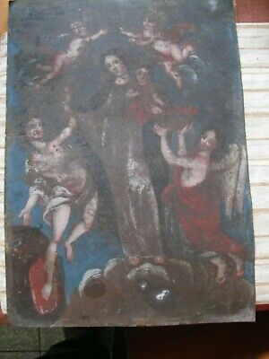 Original Antique Retablo On Tin With Virgin Mary Surrounded By Angels