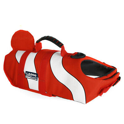 Dog Life Jacket Swimming Jacket Float Vest Adjustable Buoyancy Aid Clownfish