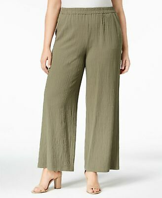 JM Collection Womens Plus Textured Wide-Leg Pants Olive Green New With Tags *d