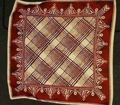 """Silky Scarf Red Batik Print Made In Italy 34"""" Square Great Condition"""
