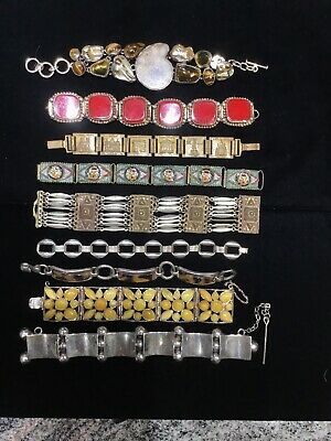 Lot of 9 VINTAGE BRACELETS Sterling, Mosaic, Alpaca, France, Amber, Tiger Eye