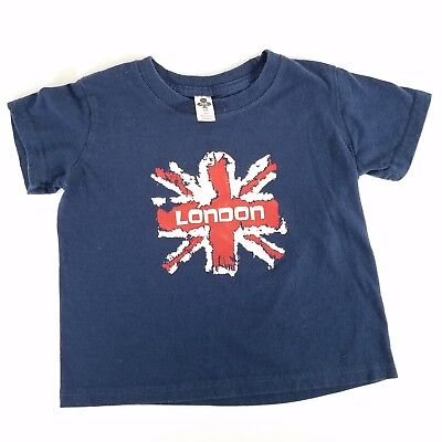 Club Navy Blue Short Sleeve Graphic Tee Union Jack London Flag Tee Size 3/4
