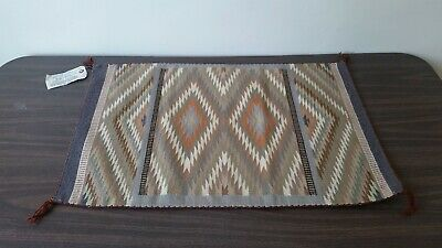 Lovely Multi-Color 28 Inch Hand Woven Navajo Rug by Shirley Weaver