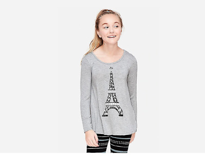 NWT Girls Justice Active Gray /& White Long Sleeve Paris Top
