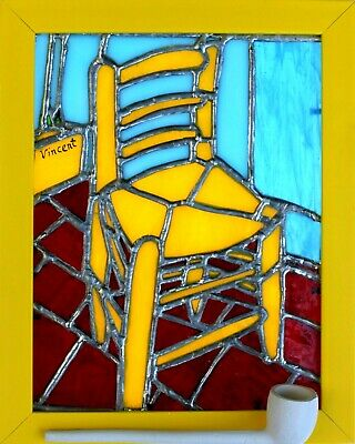 Van Gogh 'Vincent's Chair with Pipe' Stained Glass Contemporary Yellow Framed