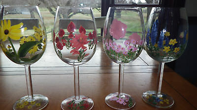 Hand Painted Wine Glasses Water Goblets ALl purpose stems Crystal 4 18oz stems