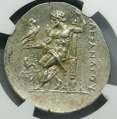 NGC Ch AU 5/5-3/5 IONIA, Miletus. Alexander the Great Tetradrachm. Silver Coin.