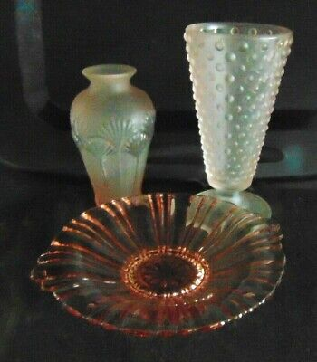 """Vintage Fenton Hobnail  8""""h 4""""w Frosted Pink Vase  Plus a Shell Vase and Dish"""