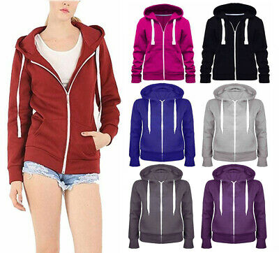 Womens Ladies Hoddie Girls Plain Zip Up Hooded Basic Hoody Sweatshirt Jacket8-14