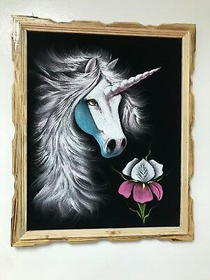 "UNICORN   , Hand Painted , VELVET PAINTING , 18"" BY 22"" W , FRAME , DECOR"