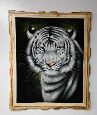 "WHITE TIGER FACE , Hand Painted , VELVET PAINTING , 18"" BY 22"" W ,FRAME ,DECOR"
