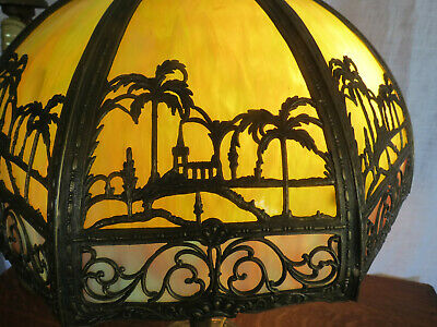 Antique Stained Slag Glass Lamp Palm Tree Scene Miller Handel B&H Arts & Crafts