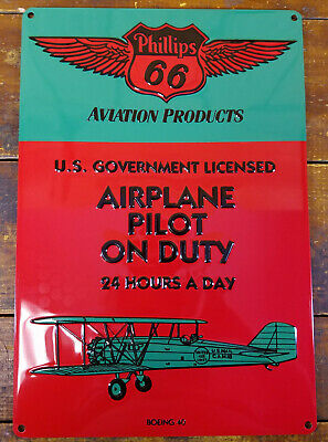 Phillips 66 Airplane Pilot On Duty Heavily Embossed Metal Gas Advertising Sign