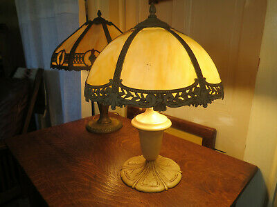 Antique Stained Slag Glass Lamp 6 Curved Panels Bradley Hubbard Rainaud Miller