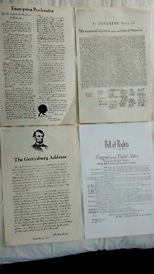 Emancipation Proclamation Bill of Rights Presidents Day Poster Lot