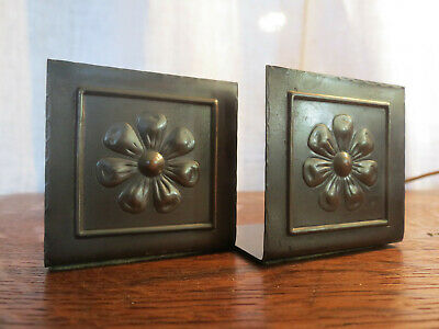 Daisy Motif Copper Bookends Mission Arts&Crafts Stickley Roycroft Benidict Era