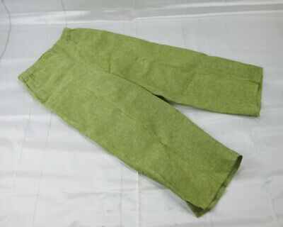 Flax Womens Linen Green Cropped Wide Leg Pants Size Petite With Pockets