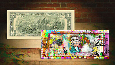 CARTOONS Popeye Scooby-Doo MAGA Genuine Tender $2 U.S. Bill SIGNED by Rency