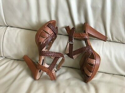 Laura Ashley real leather plaited brown heels shoes sandals uk 6 eu 39