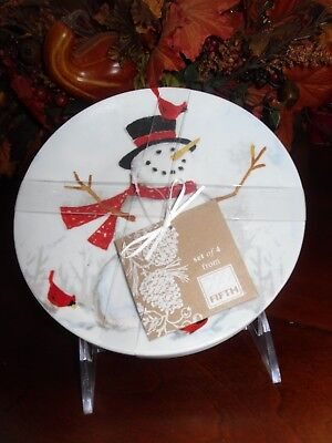 222 Fifth Winter Cheer Snowman Set/4 Appetizer Dessert Plate Red Bird Christmas