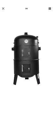 3in1 BBQ GRILL BARBECUE GRILLE WAGON CHARBON DE BOIS FUMOIR SMOKER