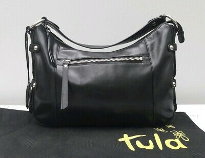 Tula Radley Black Leather Handbag Bag Grab Stud VGC