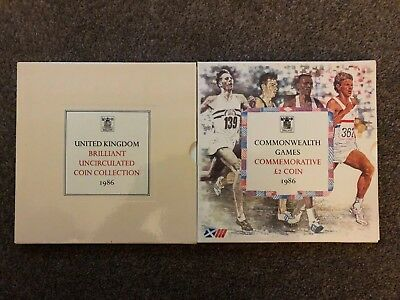1986 Royal Mint Uk Brilliant Uncirculated Coin Collection Set First £2 Two Pound