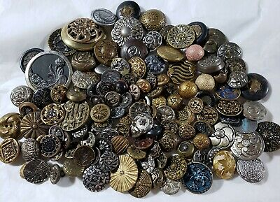 Huge Lot of 175+ Antique Victorian Brass Pewter Metal Buttons