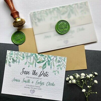 Personalised Wedding 'Save The Date' Vellum Wrapped Magnetic Card with Wax Seal.