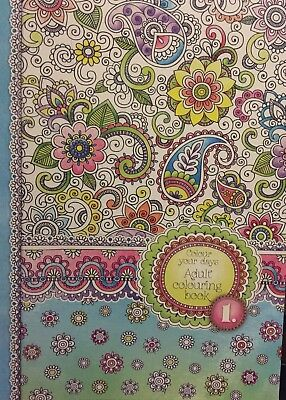 New - Adult Colouring Book - Floral Design 1 - 62 Pages To Colour