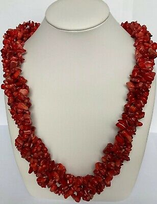 8f71e06fc3d82 CHICO'S GORGEOUS RED Faux Coral Chunky Multi Strand Necklace Silver ...