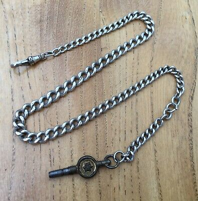 Antique Solid Silver Graduated Albert Pocket Watch Chain Hallmarked 37cm