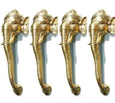 "4 Ganesha Elephant DOOR PULL HANDLE 11 "" long solid BRASS trunk door age 28 cm B"