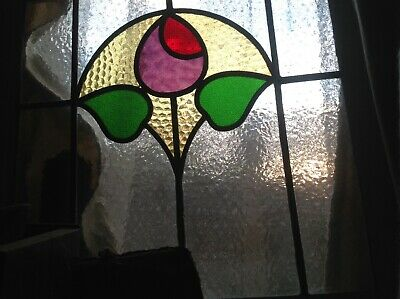 Lovely 1930s  Stained leaded glass. Window..in frame..more available..one sold