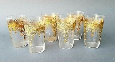 six antique French gold encrusted etched hand blown juice glasses 19th c.