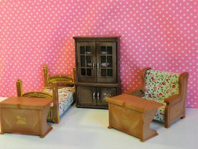 VTG 1986 Bandai Maple Town Story Dollhouse China Cabinet Hutch, Bed Chair 2 desk