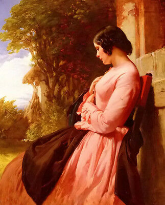 Dream-art Oil painting Henry Lejeune - contemplation young beauty in landscape