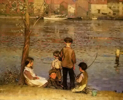 Dream-art Oil painting john emms - the river afterglow & children fishing canvas