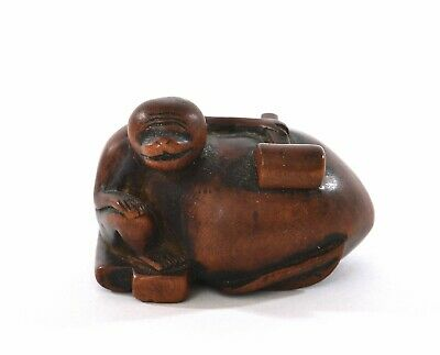 1900's Japanese Boxwood Box Wood Carved Carving Netsuke Monkey & Peach