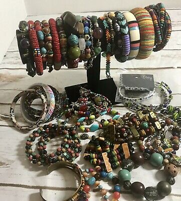 lot 35 Bright Multi Colored vintage to new bracelets Mixed Styles