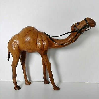 Genuine Leather Camel Figure/ Statue Collectible Light Tan-Brown